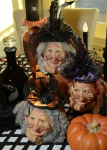 Three friendly witches, kitchen table centerpiece