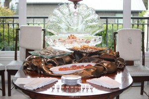 The Buffet Table with Ice Clam Shell Sculpture