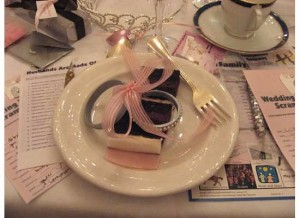 Slice of the brides cake
