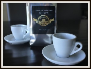 6. Bag of special birthday blend espresso coffee with espresso cup and saucer to celebrate his love for the bean